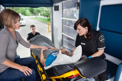 medical team on their transportation vehicle